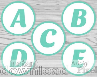 alphabet, 3.5 in circles with  letters and numbers, aqua blue, for personalized party banner and decoration, download