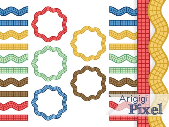 frames and borders digital clip art set of 15, circles, checkered clipart, wavy and straight borders, scalloped ric rac, commercial use