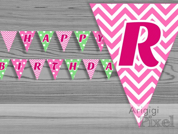 Printable bunting banner Happy Birthday - pink & green - chevron - polka dot