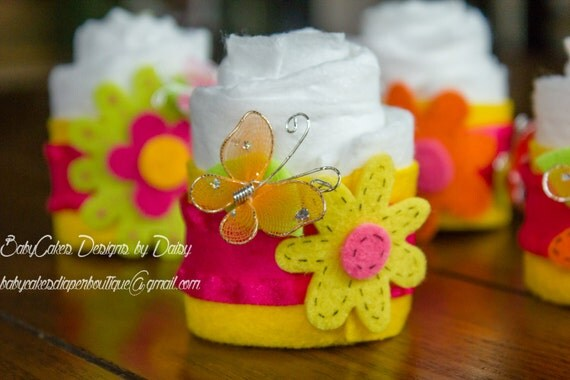 12 Mini Diaper Cupcakes | Felt Diaper Cupcakes | Flowers and Butterflies Baby Shower | Baby Shower | Diaper Cake