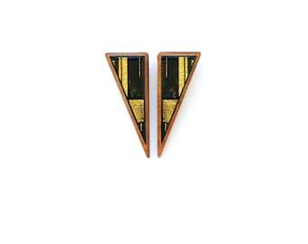 Gold triangle studs, gold art deco earrings, gold geometric earrings, gold modern earrings, gold tribal earrings