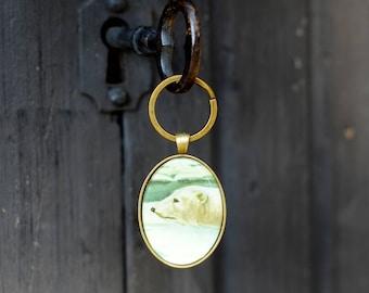 Unique ice bear keychain / keyring / animal keychain