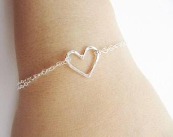 Sterling Silver Bracelet, Hammered Heart Bracelet