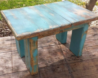 Unique Primtiques Indoor Outdoor Small Garden Porch Flower Reclaimed Wood Bench Primitive Distressed Blue 11.5x17x10.5h Custom Colors Sizes