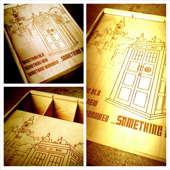 Doctor Who Wedding Wine Box - Holds 3 Bottles - Doctor Who Design - Customize It