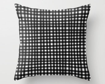 Black Gingham Pillow, Black and White Throw Pillow Cover, Black and White Pillow, Checked Pattern Throw Pillow Case, Black White Pillow