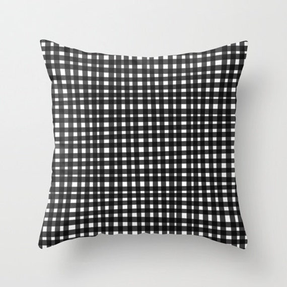 black gingham pillow black and white throw pillow cover. Black Bedroom Furniture Sets. Home Design Ideas