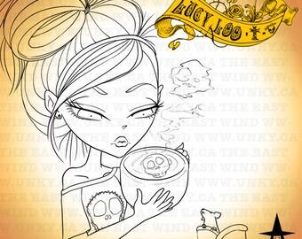 Digital Stamp- 'Lucy Loo' Morning Coffee - 300dpi JPEG/ PNG + No line Jpeg - MAC0088