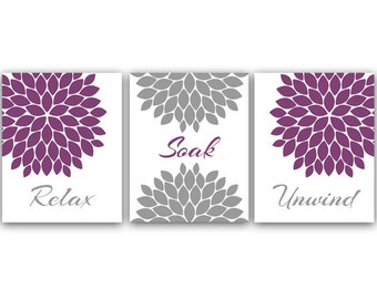 Bathroom Art Relax Soak Unwind Set Of 3 Bath Art Prints Printable Modern