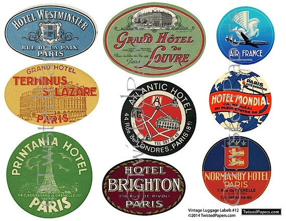 9 Large Luggage Labels Vintage Paris French Travel Luggage