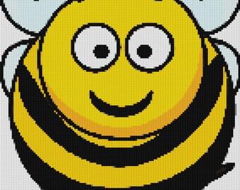 Cute Bumble Bee Cross Stitch Pattern