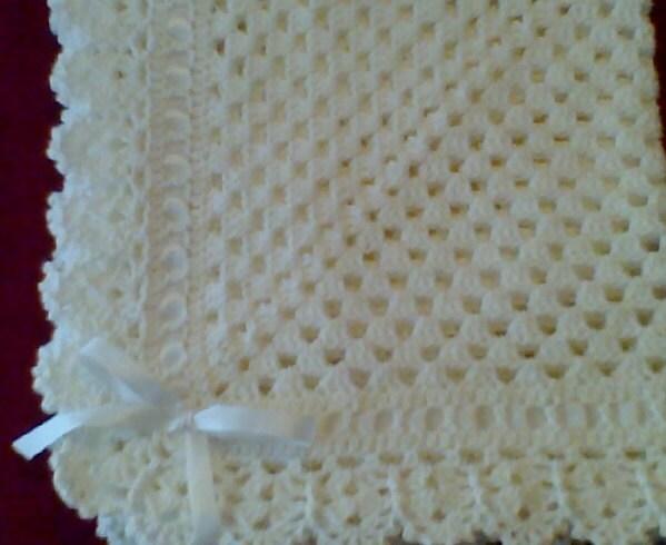 Crocheted White Christening Baptism Baby Blanket Afghan