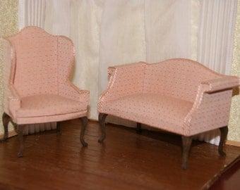 Dollhouse Pink Parlor Set Like New