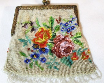 Micro Beaded Purse, Ornate Metal Frame, Handmade 1800's,  Excellent condition