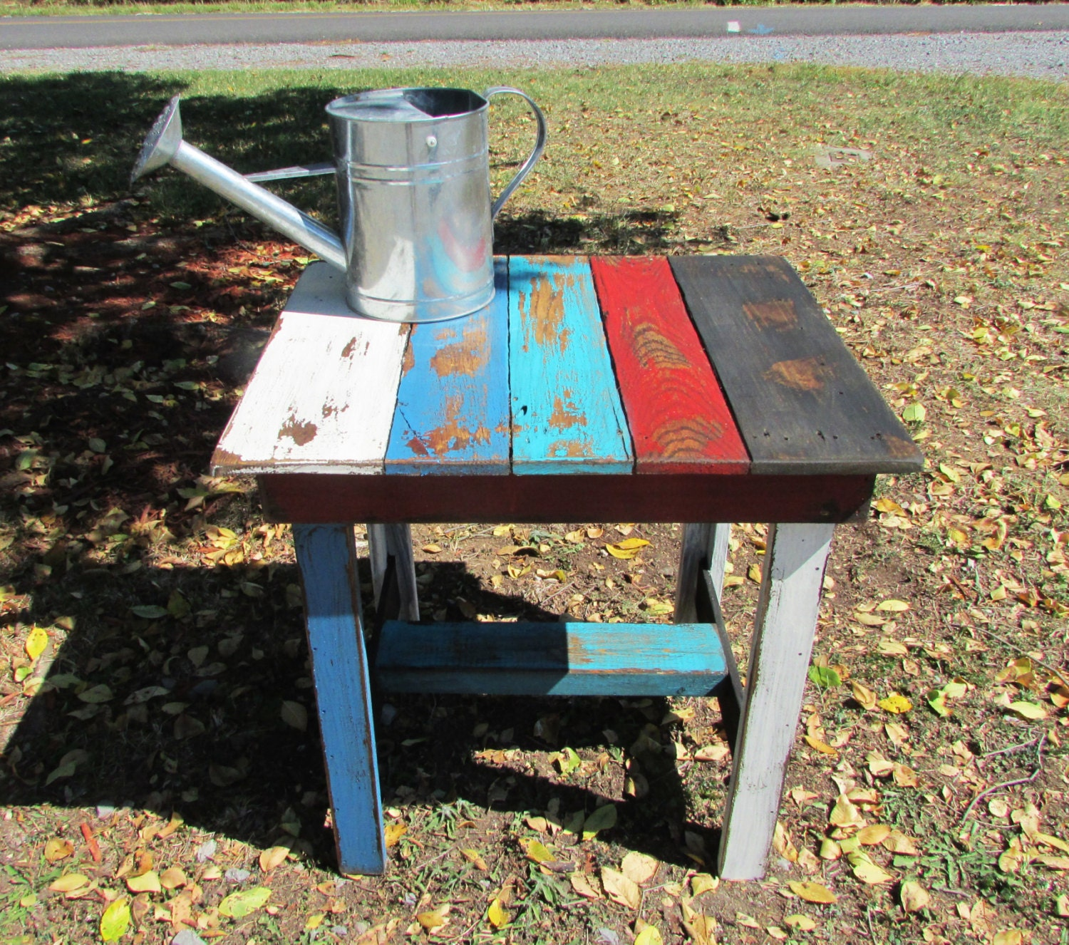Rustic End Table Multi-Colored Wood Table by SereneVillage ...