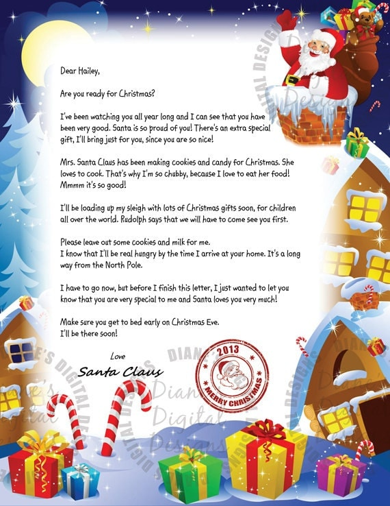 Items similar to Personalized Letter From Santa Claus - Printable ...