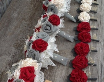 Beautiful red silk and gray burlap bouquets with babys breath and pearl accents(listing is for one bridal bouquet)