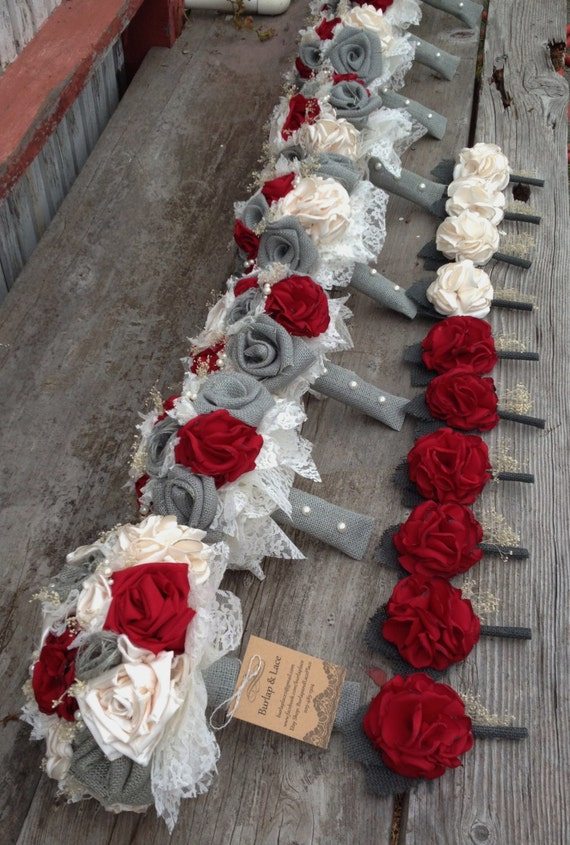 Beautiful Red Silk And Gray Burlap Bouquets With Babys Breath