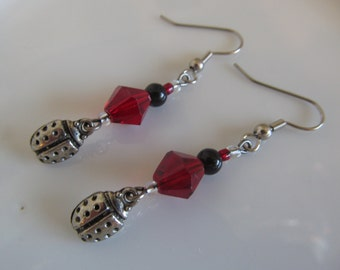 Handmade For You Cute Ladybug Charm, Red and Black Czech Glass Beaded French Hook Earrings