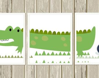 Crocodile nursery art, alligator nursery art, baby boy nursery, toddler boy wall art, playroom decor, custom colors, set of 3 prints