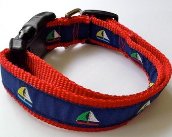 PREPPY SAILBOATS - Dog Collar  - Leash Sold Separately
