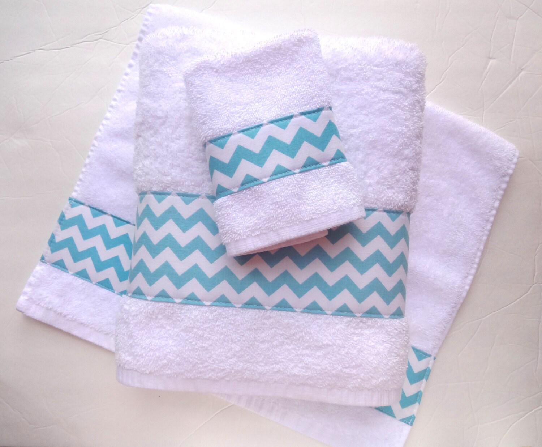 Aqua chevron towels hand towels chevron blue bathroom for Bathroom hand towels