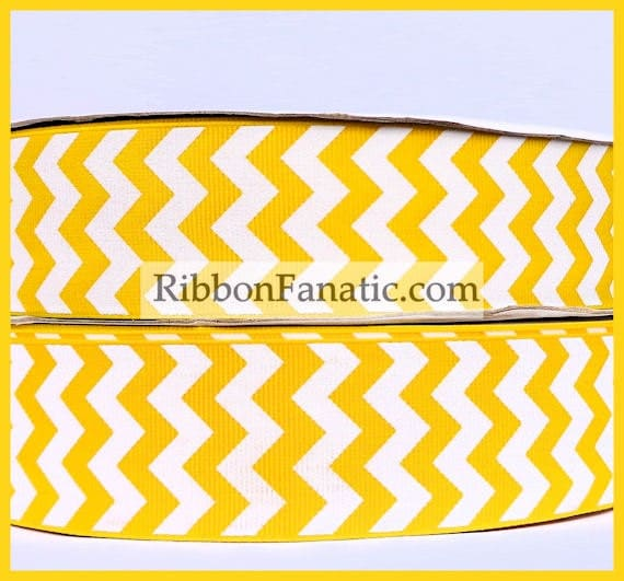 5 Yds 1 5 Quot Yellow And White Chevron Stripe Grosgrain