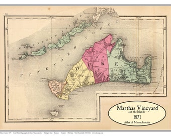 Martha's Vineyard 1871 map  by Walling and Gray