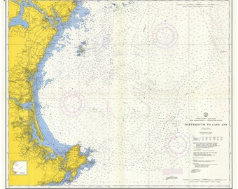 Portsmouth, NH to Cape Ann, MA - 1958 Nautical Map  - Reprint 80000 AC 1206