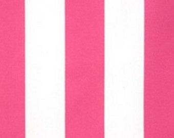 Fabric by the Yard, Indoor / Outdoor -- Preppy Pink & White Stripe