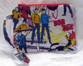 Zippered Wristlet/Clutch in a Fantastic Star Trek Comics Fabric