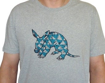 Aardvark, heather grey, fairtrade organic shirt for men, sizes M, L, XL, 100% organic cotton