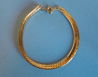 Vintage gold tone herringbone bracelet