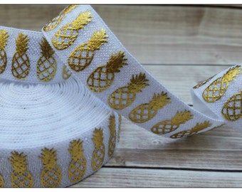 5/8 WHITE Pineapple Gold Foil Fold Over Elastic