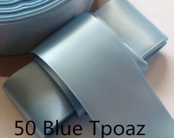 5 yards 2 inches Single Face Satin Ribbon in Blue Tpoaz DM 20-50