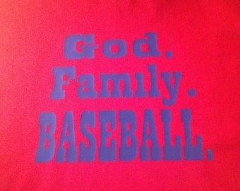 """Custom Child's Shirt """"God. Family. Baseball."""""""