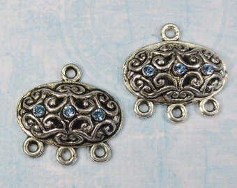 Silver Plate Chandelier Links, with Light Sapphire Blue Swarovski Crystal, 2 Pieces - Item 1276