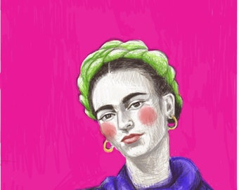 Frida Kahlo 8x10 art print in Pink,                               Created on my Ipad with the app Paper53