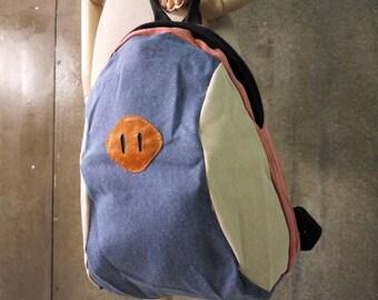 SALE - Stonewashed Cotton Canvas Men Women Backpack With 1 Zippered Back Pocket, School Bag, Rucksack, Messenger, All Purpose Bag - BP012
