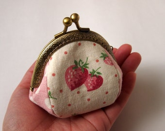 Framed Coin Purse/ Change Purse/ Jewelry Pouch/ Kisslock- Strawberry, Pink - Handmade in Japan by Chikaberry