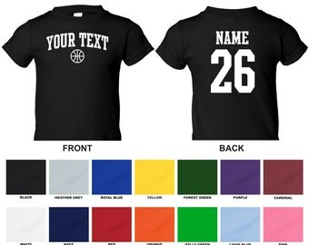 Personalized custom your text and number basketball toddler t-shirt, you choose the text for the front and back, ARCHED TEXT