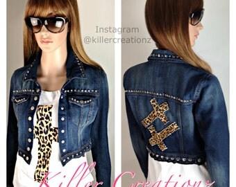Custom Studded Jacket with Leopard Crosses
