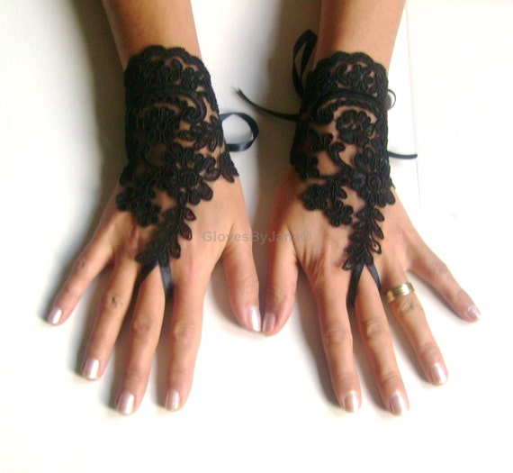 Black Wedding gloves french lace gloves bridal bridesmaid gloves lace gloves fingerless gloves black gloves free ship 266