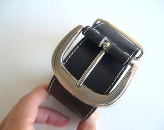 Black belt leather / Bold leather belt vintage