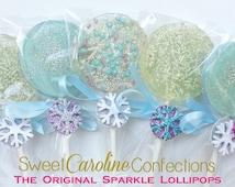Frozen Lollipops, Snowflake Lollipops, Frozen Themed, Hard Candy Lollipops, Party Favors, Lollipops, Sweet Caroline Confections-Set of Six