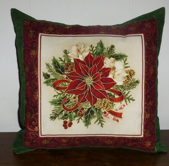 Christmas Decorative Pillow Cover Poinsettia Beautiful with