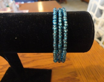 Memory Wire Bracelet-Bright Blue seed Bead