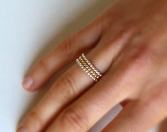 Bead Wire Stacking Band Ring Yellow Goldfilled