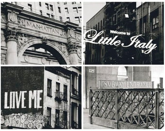 Set Of 4 Black and White NYC Downtown Manhattan Photographs - Character -  New York City Art - New York Cityscape - NYC Architecture