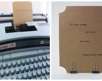 THOREAU Quote Card --Made on Vintage Typewriter-- Inspirational Poetry Letterpress Typography